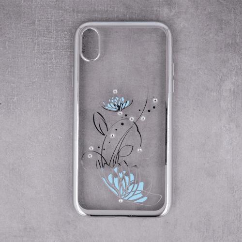 Zaštitna zadnja maska Lotus za iPhone X / iPhone XS srebrna