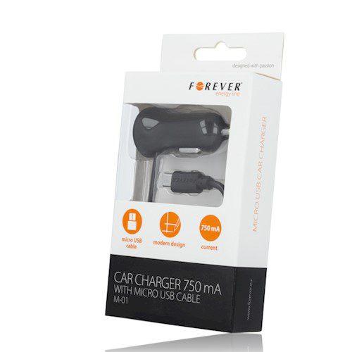 Auto punjač Forever Micro USB 750 mA M-01 crni
